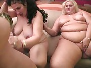 Blonde and brunette BBW blowjob