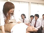 Rio Hamasaki rides her student´s cock in front of class
