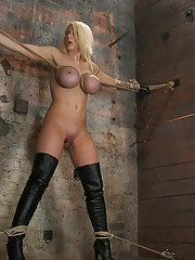 Blond Bombshell with massive breasts is bound, spread, and made to suffer brutal tit bondage and massive orgasms! She has no hope for escape or mercy.