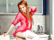 Super petite red head takes off her lingerie and masturbates