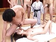 Marika sucks cock while riding dick and pleasing many men