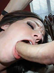 Horny slut shows that she can deepthroat like a pro