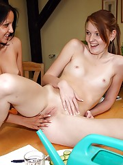 Two lesbian lovers kissing eachothers body