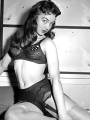 Wearing stockings and suspenders in fifties