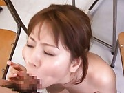 Yuma Asami gives a blowjob to her horny student after sex