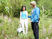 Teen cutie shagged in the bushes by a dude