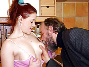 A horny old fart fucks a much younger chick