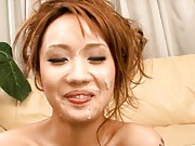 Luna´s tits get cum on them by a couple more horny asian guys
