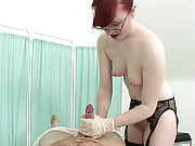 Handjob fetish nurse milking a cock