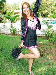 Tania Spice show her pride on the varsity cheer team and strips down to nothing