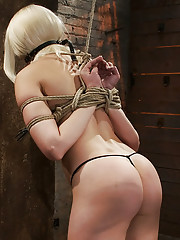 Local amateur girl in her first hardcore bondage shoot, we bind her in a Reverse Prayer, pull her to her toes, flog her perfect ass & make her cum!!
