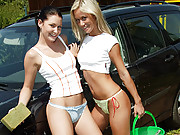Two lesbian horny drenched car washing girls