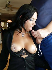 milf gives handjob to two guys