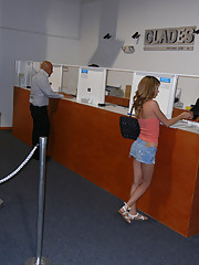 Super hot little titty mini skirt amateur flashes inside a bank then fucks and sucks the security guards cock