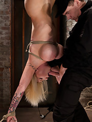 Candy Manson & her amazing body is hung upside for the first time.  Her huge tits are bound and clamped. She is impaled with a huge dick, made to cum!