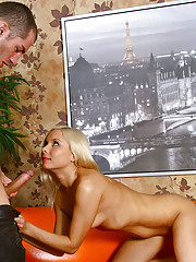 Blonde Nubile Elga receives a deep pussy drill from her boyfriend and a cum explosion on her breast