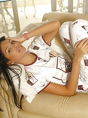 Karla Spice slips out of her snoopy pajama to sleep naked