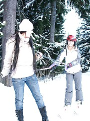 Teenage lesbians fondling outside in the snow
