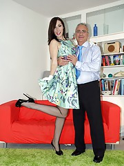 Pretty babe fucked by an old chap hardcore