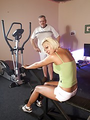 Sporty sweetheart shagging a horny old senior