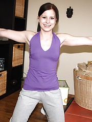 Handsome teenage chick undresses and strokes