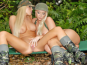 Hot blonds in military uniform ultra hot huge round ass fat juicy pussy and big natural tits suck eahc others pussy on the sofa