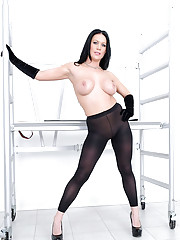 Opaque pantyhose brunette milf babe