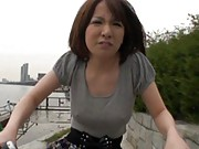 Yuki Mizuho nipples are hard as she rides her bike in the cold