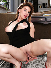Classy Latina Anilos Valarie pulls up her sexy dress and shows off her hungry fuck hole