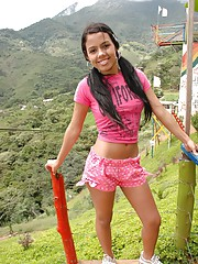 Gigi Spice enjoys the amazing views of her country in her sexy pink outfit