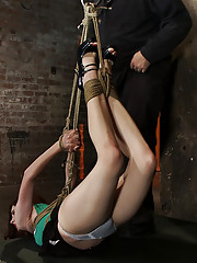 19yr old with huge FF natural breasts is hogtied, suspended, spanked, gagged, & made to cum over & over. Is helpless in the air with no way to escape