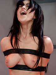 Breanne Benson strapped down aboard a sci-fi ship - machine fucked, her tits sucked into cups, her pussy spread for mechanical, human alien prodding.