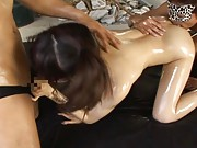 Akari Satsuki Oiled Asian babe gets pussy fucked and creampied