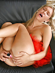 After dipping her finger in her pussy Tassie gets her vibrator and drills her horny hot fuck hole
