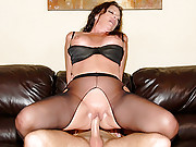 Hot smoking milf gets some dick from young stud big tits fat pussy