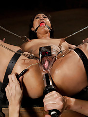 Beautiful Asian girl gets tied up and dominated with electricity! Foot torture, toe sucking, foot worship, hard bondage, and lesbian BDSM!