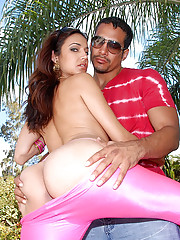 Hot pants big booty latina fucked hard in these park fucking pics