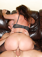 Hot big booty stocking babe nailed hard in these desk fucking milf pics