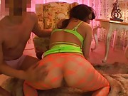 Miho Nakata gives a blowjob while wearing neon lingerie