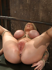 California blond with huge tits is bound in the ultimate humiliating position.  Pussy and ass exposed, made to cum and squirt like a common whore.