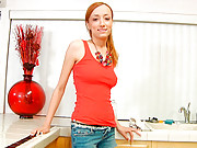 Busty Nubile Victoria Rae rides a thick cock on the kitchen counter