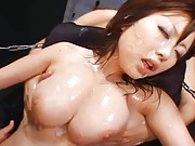 Rio Hamasaki opens her mouth to get cum in it while she is fucked