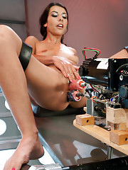 Lou whispers dirty French phrases while cumming from machine anal, DP and huge robot dick. Your cock will hurt from jerking off to this ubersexy babe