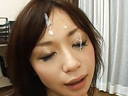 Japanese AV Model gives head to the stud that she wants to fuck