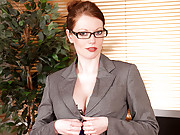 Office manager Holly Kiss masturbates in her glasses and lingerie