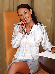 Office MILF Sandy K from AllOver30 showing great interest in work