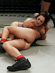 2 strong fitness models battle it out in brutal non-scripted wresting. Smaller girl dominates & humiliates the big, stronger girl, then fucks her ass!