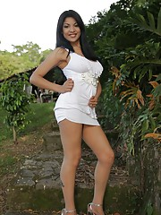 Natalia Spice shows off her perfect naked body once her dress and matching white panties came off