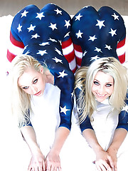 Hot pornstar kristen get finger fucked by 2 hot lesbians in this support our troops naked charity event