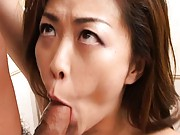 Yukari Sakurada Asian model sucks cock and gets a hard cock ride